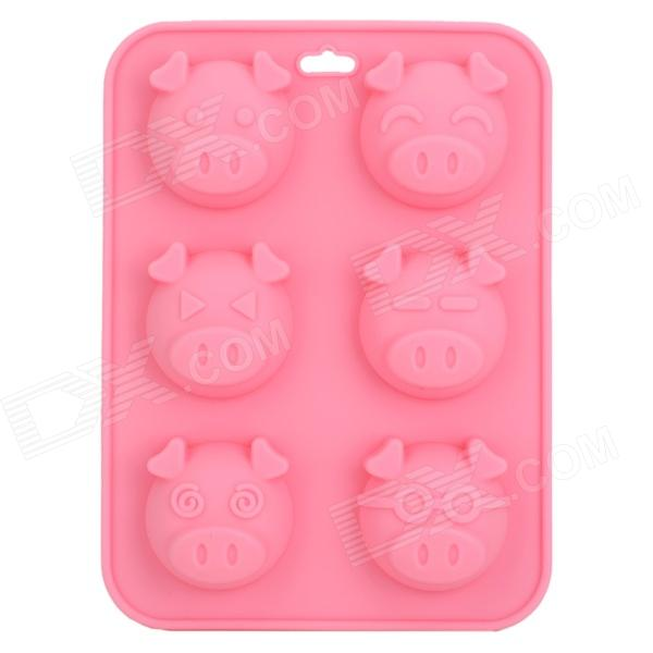 SP0010 Cute Piggy Face Style Pudding / Bread / Cake Baking Mould - Pink realistic cake cell phone strap with bread fragrance assorted smiling face