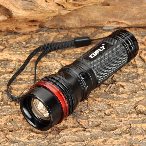 COFLY KX-F398 210lm 3-Mode White Zooming Flashlight w/ Cree XR-E Q5 - Black + Red (1 x 18650)
