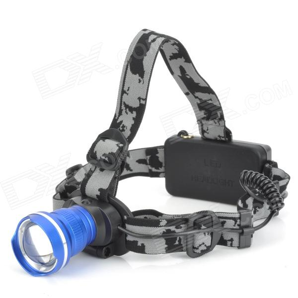SLT-H122 600lm 3-Mode White Zooming Headlamp w/ Cree XM-L T6 - Blue + Black + Silver (1 / 2 x 18650) 600lm 3 mode white bicycle headlamp w cree xm l t6 black silver 4 x 18650
