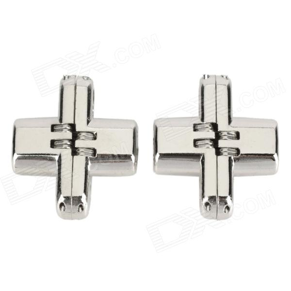 L1GXL Zinc Alloy Cross Style Hidden Door Butt Hinge for Accordion Door - Silver (2 PCS) chic high waisted hit color loose fitting pants for women