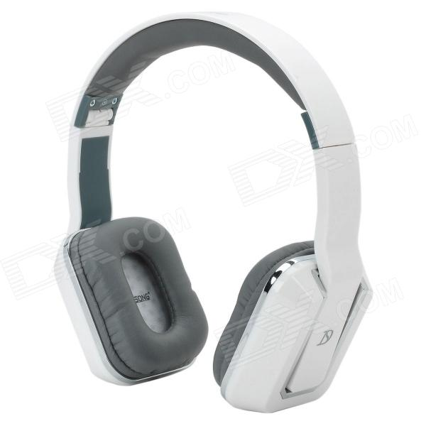 DICSONG DS-8802 Foldable Headphones w/ Microphone - White + Grey + Silver dicsong cd 811 stylish headphones black silver 3 5mm plug 198cm