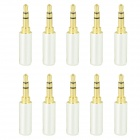 Gold Plated 3.5mm Stereo Soldering Plug - Pearl Silver (10 PCS)