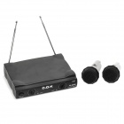 COK W-970D Professional KTV Wireless Microphones + Receiver Set - Black