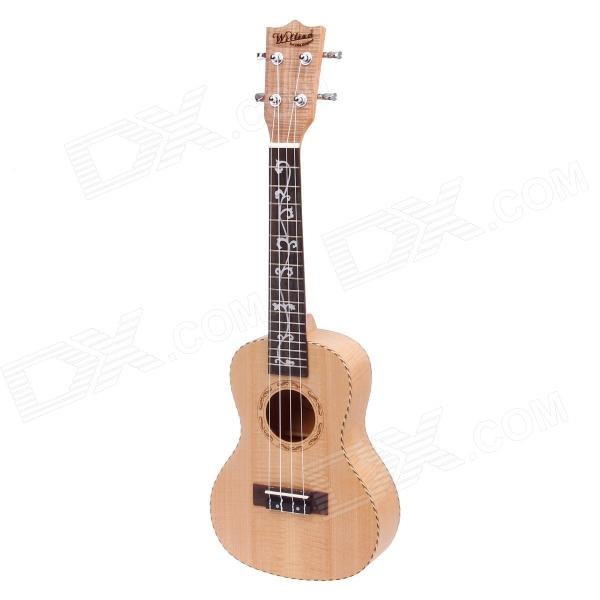 William 23 Maple 4-String Ukulele w/ Engraving Flower On Fingerboard - Light Brown one right unfinished electric guitar neck maple made and maple fingerboard bolt on 21 fret