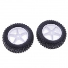 90mm Rubber Tyre Set for 1/10 RC On-Road Car - Black + White (2 PCS)