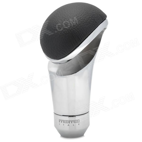 MOMO Universal Car PU Leather + Aluminum Alloy Shift Gear Knob - Black + Silver