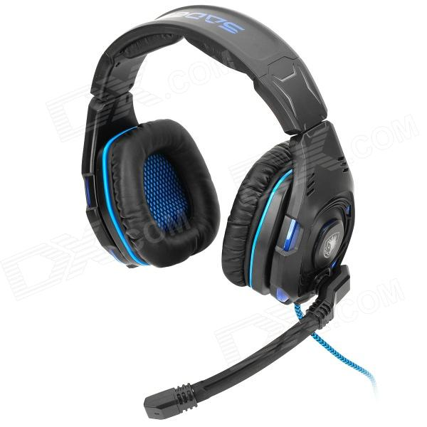 SADES SA-907 USB Gaming Headphones Headset - Black + Blue (300cm-Cable) sound friend sf gh400 usb 2 0 wired headphones headset w microphone black 190cm cable