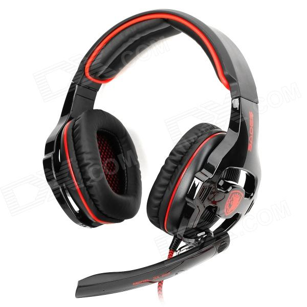 SADES SA-903 USB 2.0 Gaming Headphones w/ Microphone - Black + Red (300cm-Cable) trendwoo® twins bluetooth wireless speaker support 2 0 left and right stereo sound surround with built in microphone hands free music player