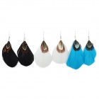 Creative Elegant Feather Earrings - White + Blue + Black (3 Pair)