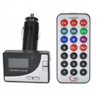 "1.0"" LCD Car Powered FM Transmitter + MP3 Player w/ Remote Controller - Black + Silver"