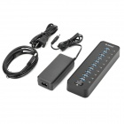 Orico P10-U3-BK 10-Port USB 3.0 Hub w/ Indicator LED / Switch / External Power Adapter - Black
