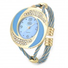 Fashion Lady's Steel Wire Bracelet Band Quartz Wrist Watch - Golden + Blue (1 x LR626)