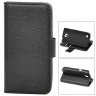 Protective PU Leather Case w/ Card Holder Slots for Samsung Galaxy S4 Mini - Black