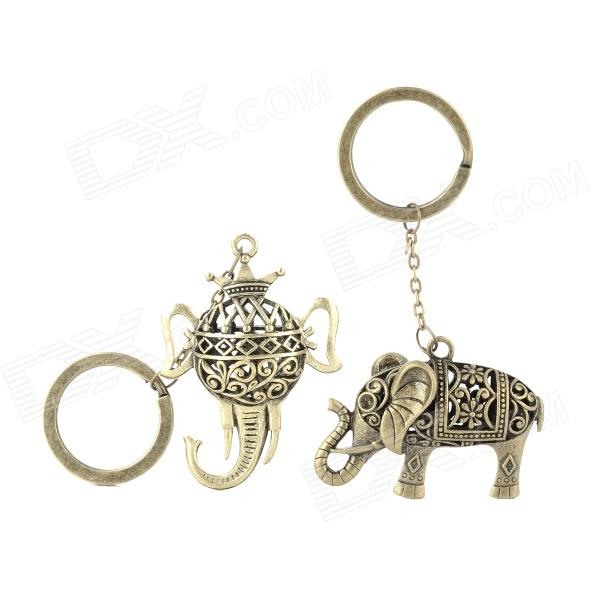 Retro Elephant stil zink legering nyckelring - brons (2 st)