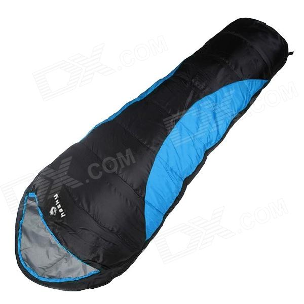 Hasky CY-0903-1 Outdoor Camping Warm 210T Polyester Mummy Sleeping Bag - Black + Blue lucky shot drinking roulette game 6 cup set