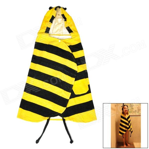 716 Cartoon Bee Style Baby Kid Cotton Nightgown / Bath Towel - Black + Yellow