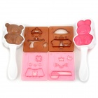 Cute Rabbit & Bear Style DIY Bento Meal Molds Set - White + Coffee + Pink
