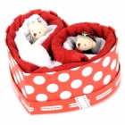 M018 Bear Heart Style Cotton Wedding Cake Towel Gift Box - Red + White