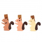 SV13-237 Cute Squirrel Style Wooden Clips Set  - Beige + Pink + Brown