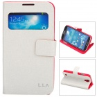 L.LA Protective PU Leather Case w/ Display Window for Samsung Galaxy S4 i9500 - Beige + Red