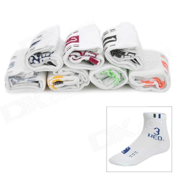 Men's Stylish Cotton Sock w/ Days of The Week Mark - White (7 Pair)
