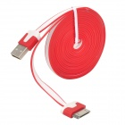 USB 2.0 Male to Apple 30 Pin Male Flat Data & Charging Cable - Red + White (226cm)