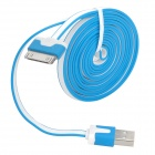 USB 2.0 Male to Apple 30 Pin Male Flat Data & Charging Cable - Blue + White (200cm)