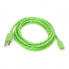 USB 2.0 Male to 8 Pin Lightning Male Nylon Data & Charging Cable - Green (200cm)