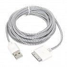 USB 2.0 Male to Apple 30 Pin Male Nylon Braided Mesh Data & Charging Cable - White (300cm)