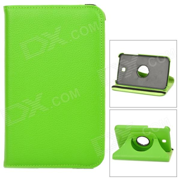 Lychee Pattern 360 Degree Rotation PU Leather Case for Samsung Galaxy Tab 3 P3200 - Green protective 360 degree rotation holder pu leather case for samsung p6800 p6810 pink