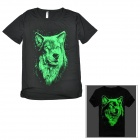 ZT04 stilvollen Männer Glow-in-the-dark Wolf Pattern Cotton T-Shirt - Black (XXL)