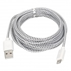 USB 2.0 Male to 8 Pin Lightning Male Nylon Braided Mesh Data & Charging Cable - White (300cm)