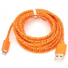 USB 2.0 Male to 8 Pin Lightning Male Nylon Data & Charging Cable - Orange (300cm)