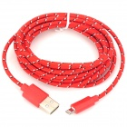 USB 2.0 Male to 8 Pin Lightning Male Nylon Braided Mesh Data & Charging Cable - Red (300cm)