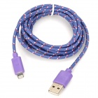USB 2.0 Male to 8 Pin Lightning Male Nylon Data & Charging Cable - Purple (200cm)