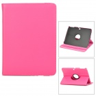Lychee Pattern 360 Degree Rotation PU Leather Case for Samsung Galaxy Tab 3 P5200 - Deep Pink
