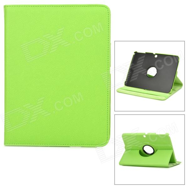 Lychee Pattern 360 Degree Rotation PU Leather Case for Samsung Galaxy Tab 3 P5200 - Green protective 360 degree rotation holder pu leather case for samsung p6800 p6810 pink