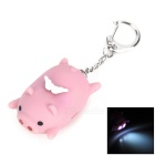 Cute Lying Pig Style 2-LED White Flashlight Keychain - Light Purple (3 x AG10)