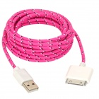 USB 2.0 Male to Apple 30 Pin Male Nylon Data & Charging Cable - Deep Pink (300cm)