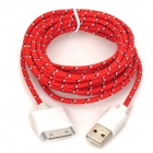 USB 2.0 Male to Apple 30 Pin Male Nylon Braided Mesh Data & Charging Cable - Red (300cm)