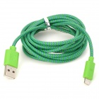 USB 2.0 Male to 8 Pin Lightning Male Nylon Data & Charging Cable - Deep Green (200cm)
