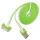 USB 2.0 Male to Apple 30 Pin Male Flat Data & Charging Cable - Green + White (200cm)