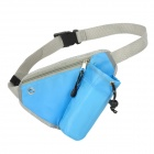 Multifunction Outdoor Sports Nylon Zipper Storage Waist Bag w/ Drawstring Pouch + Buckle - Blue