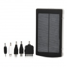10000mAh Dual USB Solar Power Mobile Power Bank w/ 5 Charging Adapters - White + Black