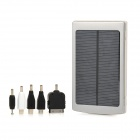 10000mAh Dual USB Solar Power Mobile Power Bank w/ 5 Charging Adapters - Silver + Black