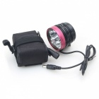 LZ 2800lm 3-Mode White Bicycle Light w/ 6 x Cree XM-L T6 - Black + Deep Pink (6 x 18650)