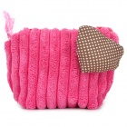 64564 Cute Handy Coral Fleece Zipper Change Coin Purse w/ Lovely Heart Adornment - Pink