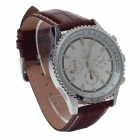 ORKINA P0036 Fashional Men's Quartz Watch w/ Six Stitch Stopwatch - Brown + Silver (1 x LR626)