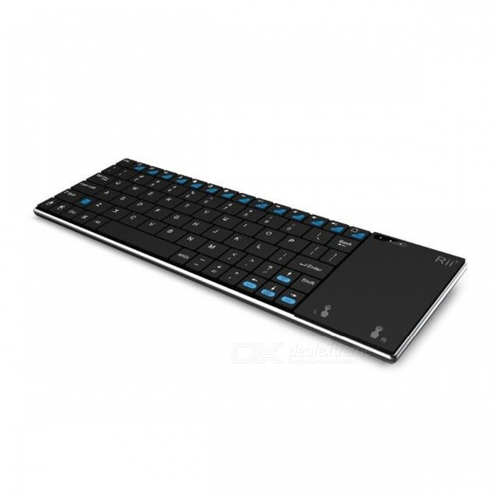 Rii i12 Ultrathin 2.4GHz Wireless Keyboard with Touch - Black + Silver