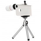 Detectable 8X Telescope w/ Tripod / Back Case for Iphone 4 / 4S - White + Silver + Black